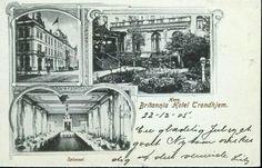 """Sør-Trøndelag fylke Trondheim  HOTEL BRITANNIA, TRONDHJEM. 3 bilders montasjekort i """"Hilsen fra""""-stil  postgått 1905"""