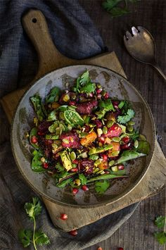 Roasted beets, pomegranate and kaniwa salad - sweet roasted corn, and crunchy pepitas, creamy avocado, fresh lemon, cilantro and scallions, and a nice zing from the cayenne pepper - this salad is an explosion of colors, flavors and textures. | www.viktoriastable.com