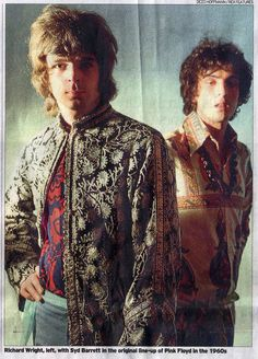 Pink Floyd: great newspaper photo of Rick Wright & Syd Barrett in a story on Rick's passing