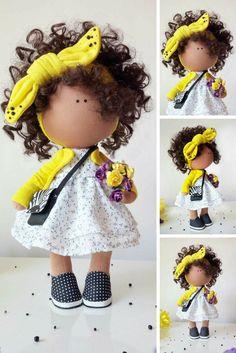 Handmade doll Tilda doll Rag doll Art doll blonde blue color soft doll Decor doll Cloth doll Fabric doll Love doll by Master Margarita Hilko Diy Summer Clothes, Diy Clothes, Baby Dolls For Kids, Yellow Nursery, Handmade Baby, Handmade Dolls, Etsy Handmade, Soft Dolls, Fabric Dolls
