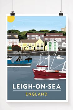 Old Leigh – Leigh-on-Sea England Poster / Essex / Print / Travel Poster / Vintage Print Vintage Travel Posters, Retro Posters, Essex England, Leigh On Sea, Visit Britain, Sea Art, Great Britain, Adventure, Junk Journal