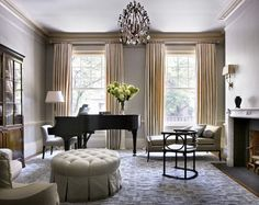 """Decor affects the sound of a piano; placing a piano in a corner can bring out more of its low, bass tones"""" and """"the lid of a grand piano should never open toward a wall"""". Living Room Decor With Piano, Piano Room Decor, My Living Room, Studio Living, Grand Piano Room, Piano Design, Design Room, Design Design, Design Ideas"""