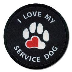 I LOVE MY SERVICE DOG Black 3 inch Sew-on Patch  Price : $4.75 http://www.creativeclam.com/LOVE-SERVICE-Black-inch-Patch/dp/B004HXOVGU