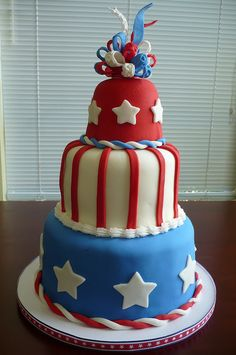3-Tier 4th of July Cake