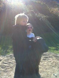 Kids stroking The Lucky Dog Todmorden
