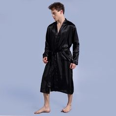 4b6320f5cf Long Robe Emulation Silk Soft Home Bathrobe Plus Size S-XXL Nightgown For  Men Kimono Robes Autunm Spring Winter Summer