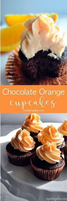classic combination of chocolate and orange come to life in these ultra-moist, fluffy, cupcakes with a bright, orange buttercream. Just Desserts, Delicious Desserts, Dessert Recipes, Desserts With Oranges, Recipes With Oranges, Gourmet Cupcake Recipes, Fluffy Cupcakes, Yummy Cupcakes, Moist Cupcakes