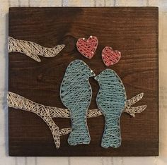 Love Bird String Art measures approximately 8in x 8in