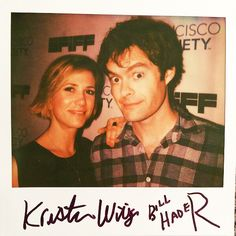 """ Fun fact about this 2-in-1 portroid of Kristen Wiig & Bill Hader from @SFIFF: they signed each other's names. (x) """