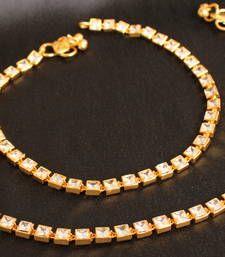 Buy Gorgeous goldplated kundan bridal anklets anklet online