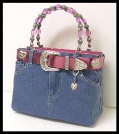Amazon.com : FUCHSIA PINK WESTERN DENIM BLUE JEAN PURSE BAG BOOTIE HANDBAG : Other Products : Everything Else