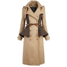 Burberry Wool Peplum Trench Coat found on Polyvore