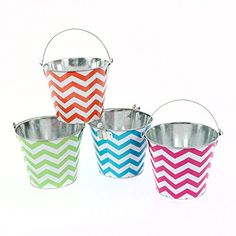 DEI Tin Chevron Pattern Bucket Set of 4 65 x 55 ** Check out this great product.