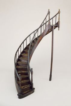 Apparently there is a secret woodworker's guild in France that makes these beautifully crafted miniature staircases. ABOVE: Staircase Model (France), Stair Shelves, Wooden Canes, Curved Staircase, Wooden Stairs, House Stairs, Victorian Homes, Design Crafts, Stairways, 18th Century