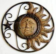 Metal Sun And Moon Wall Decor