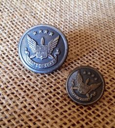United Airlines Vintage Uniform Buttons by Folkaltered on Etsy