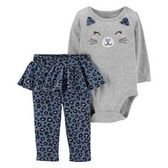 6c83ee0b2 Baby Girl Carter's Cat Face Bodysuit & Animal Print Tutu Leggings Set  Carters Baby Clothes