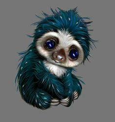 cute sloth Sasha the Sloth Cute Fantasy Creatures, Cute Creatures, Cute Animal Drawings, Cute Drawings, Sloth Tattoo, Cute Sloth, Anime Animals, Cross Paintings, Cute Baby Animals