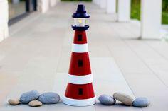 How to make a clay pot lighthouse - garden decoration // Világítótorony agyag cserepekből - kreatív kerti dekoráció // Mindy - craft tutorial collection // Clay Pot Projects, Clay Pot Crafts, Diy Projects To Try, Diy Clay, Diy Crafts, Project Ideas, Simple Crafts, Shell Crafts, Craft Projects