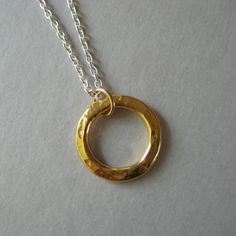 Gold Circle Necklace Vermeil Circle Necklace by juliegarland, $32.00