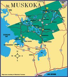 Map of District of Muskoka, Ontario, Canada (Huntsville. Canada Summer, O Canada, Canada Travel, Canada Holiday, Huntsville Ontario, Severn Bridge, Algonquin Park, Vacation Trips, Vacations