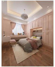 Small Room Design Bedroom, Small House Interior Design, Teen Bedroom Designs, Bedroom Decor For Teen Girls, Bedroom Closet Design, Bedroom Furniture Design, Home Room Design, Teenage Girl Rooms, Small Basement Bedroom