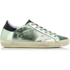 Golden Goose Deluxe Brand Superstar Lame Green Sneakers (1,280 MYR) ❤ liked on Polyvore featuring shoes, sneakers, laced sneakers, lace up shoes, golden goose, laced shoes and golden goose sneakers