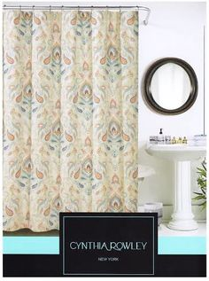 Max Studio Cotton Shower Curtain Botanical Nature Floral Branches ...