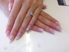 Bridal nails using NSI acrylic enhancements in pink & white with a subtle glitter fade in a gorgeous almond shape