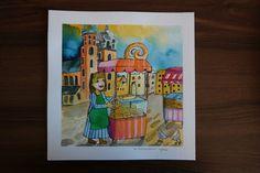 Original Watercolor . Illustration   At the Krakow market    U.Wojda