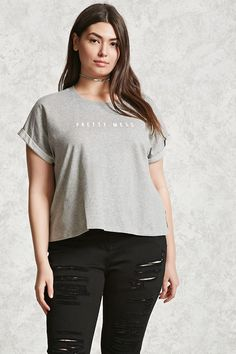 "Forever 21+ - A boxy marled knit top featuring a front ""Pretty Mess"" graphic, crew neck, short dolman sleeves with rolled cuffs, and a vented hem."
