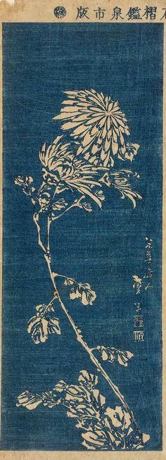Grabado en madera. Katsushika Taito II - Crisantemo (circa 1830).