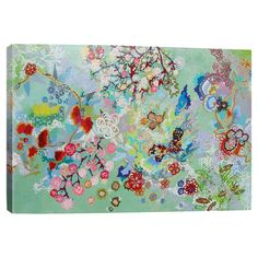 Add a pop of color to your entryway or home library with this eye-catching canvas print, showcasing a multicolor collage-inspired motif.