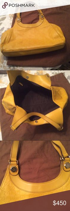 Gucci Genuine Yellow Leather Tote Awesome Gucci Yellow Leather Medium Tote Gucci Bags Totes