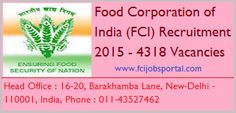 FCI Recruitment 2015 - 4318 Vacancies : The Food Corporation of India (FCI) has published the recruitment notification 2015 for the posts of JE, Typist & Assistant in various discipline. See more at : http://www.recruitpapa.com/fci-recruitment-2015/1531