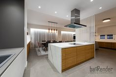 Kitchen island - White marble and wood - Vertical ribs White Marble, Ribs, Kitchen Island, Divider, Construction, Wood, Projects, Furniture, Design