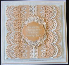 Hello crafters! This is a petticoat style card using my Carina Gemini die. I used the last few pieces of my favourite peach card, it has been discontinued in this shade unfortunately :( I cut six