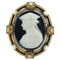 Fine Antique Gold Natural Pearl Hardstone Cameo Diamond Brooch