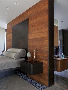 Freestanding wood wall.