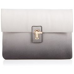 Faith Ombre Clutch Bag ($38) ❤ liked on Polyvore featuring bags, handbags, clutches, purses, ombre handbag, gray handbags, metal purse, grey purse and grey handbags