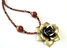 $45 #Goldstone #Necklace Brown Vintage Brass Flower by BijiJewelry #Mothersday #gift