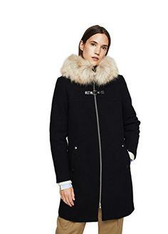 Mango Women's Faux-Fur Appliqué Wool Coat, Black, M