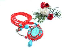 Turquoise red beaded pendant Boho necklace Turquoise coral pendant a Bright embroidered Bohemian jewelry pendant Gift for her  Bright embroidered pendant in boho style.Good for holiday, parties,going out to a restaurant and just for every day! Pendant made of Czech beads ,cabochon turquoise(imitation) beads of turquoise and coral.Underside of red leather. Fittings of bronze color. Pendant height-10cm(with suspension) Circumference-72cm Photo sample only-You will receive a very similar…