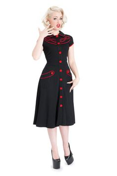 VOODOO VIXEN FLOWER BUTTON BLACK FLARE DRESS ROCKABILLY 50 S 40 S VINTAGE WORK