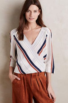 overlap neckline, secure with hook & eye? ::  Silk Surplice Blouse - anthropologie.com