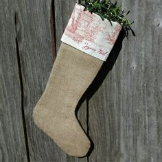 Linen toile and hessian stocking