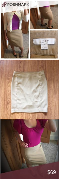 """Ann Taylor LOFT camel-colored pencil skirt size 12 📦Same day shipping (as long as P.O. is open for business). ❤ Measurements are approximate. Descriptions are accurate to the best of my knowledge.  This classic pencil skirt from Ann Taylor LOFT is a soft camel/tan color. It has a 6.25"""" back slit and hidden back zipper. 46% polyester, 45% rayon, 5% cotton, 4% spandex. Machine washable. Note: this skirt is not my size and is pinned to fit me in the model photos. 17"""" across waist, 21.5"""" long…"""