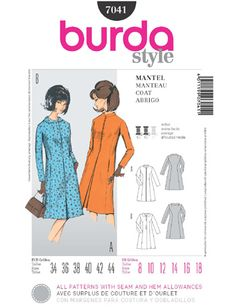 A really great retro look that makes a classic coat dress.  SewingPatterns.com Burda c796b4ea77b