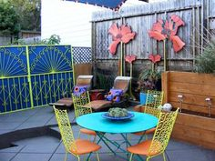 Eclectic: Color Splash host David Bromstad combined elements of art nouveau and reinvented some flea market finds to create this eclectic patio.