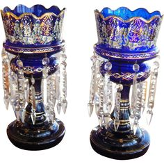 Antiques cobalt blue enamel glass lustres on Ruby Lane - Vintage & antique blue cottage home decor from #RubyLane @rubylanecom www.rubylane.com